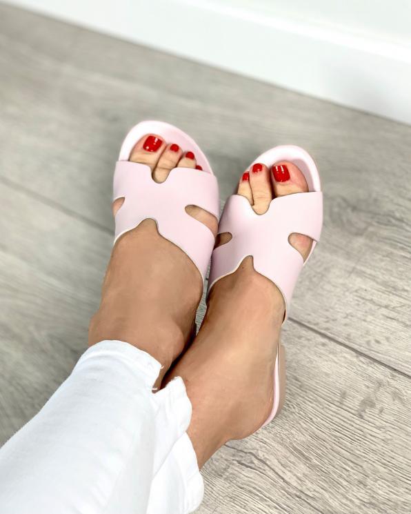 Różowe klapki damskie skórzane 2721/F58