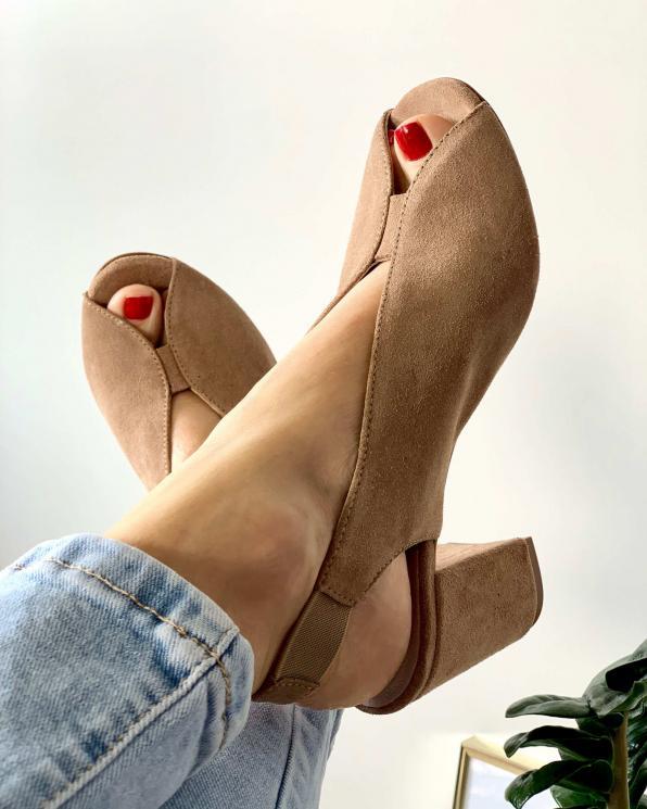 Brązowe sandały damskie skórzane 3071/F37