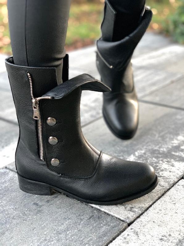 Czarne botki damskie skórzane 3312/C47