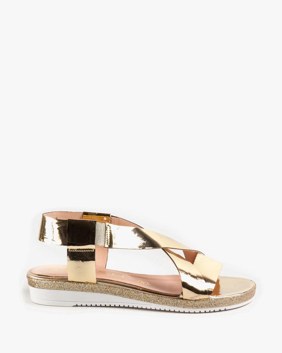 f2888ba8ca5755 Złote sandały damskie skórzane