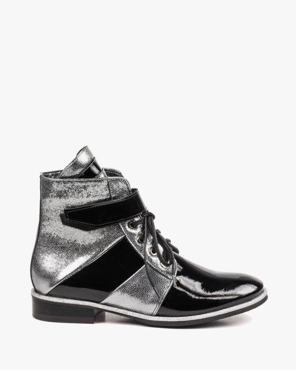 Czarno srebrne botki damskie skórzane 2540/542/A68