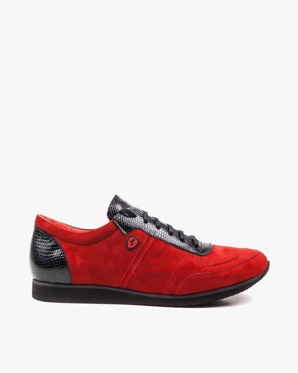 Czerwono czarne półbuty męskie skórzane 2262/D32/D62