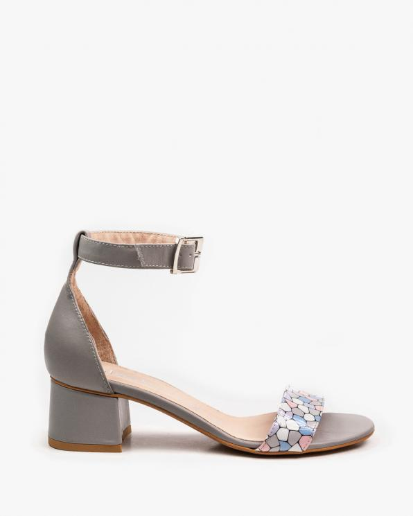 Szare sandały damskie skórzane 2148/E24/C84