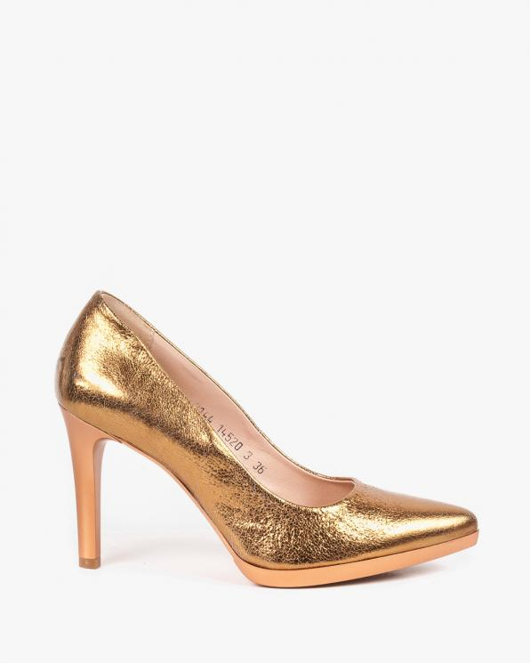 Złote czółenka damskie skórzane 2144/B09