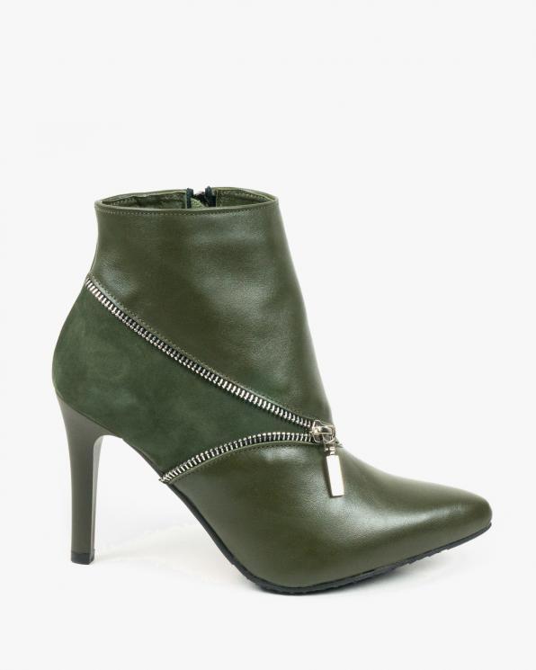 Zielone botki damskie skórzane 2897/F02/D76