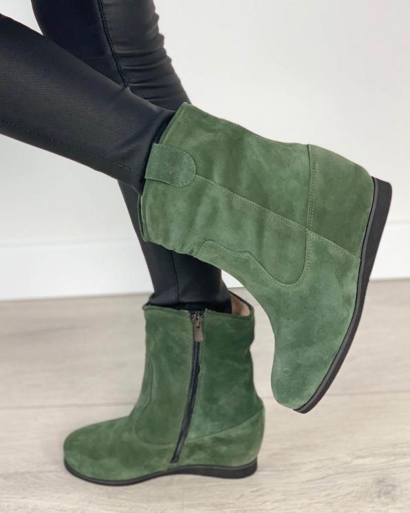Zielone botki damskie skórzane 2704/E41