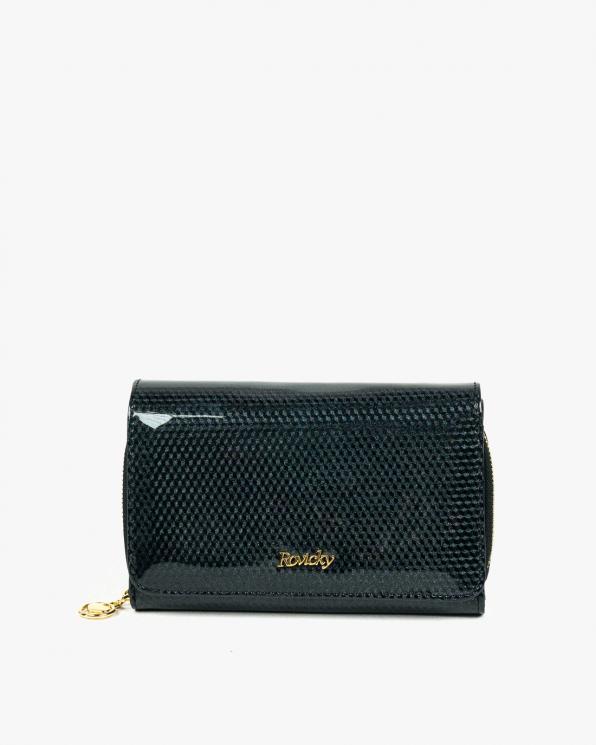 Czarny portfel damski skórzany GRE8806-SBRRFID/CZARNY