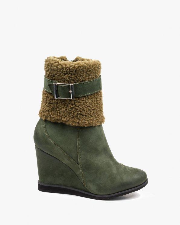 Zielone botki damskie zimowe skórzane 2420/D57