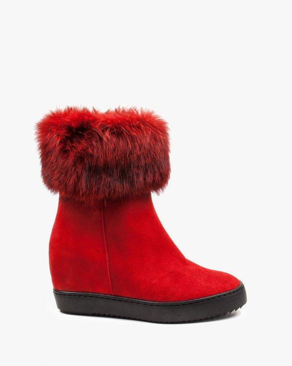 Czerwone botki damskie zimowe skórzane 2615/955