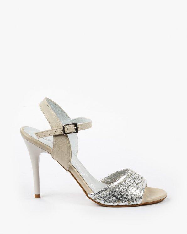 Srebrno beżowe sandały damskie skórzane 2026/866/972