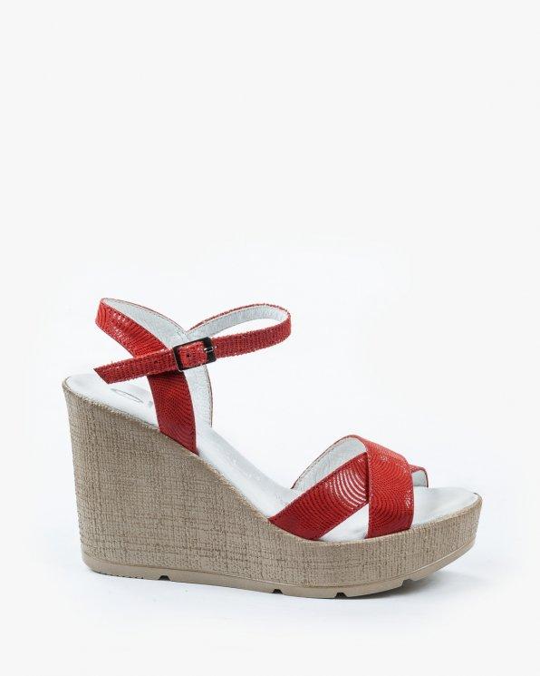 Czerwone sandały damskie skórzane 2127/A57