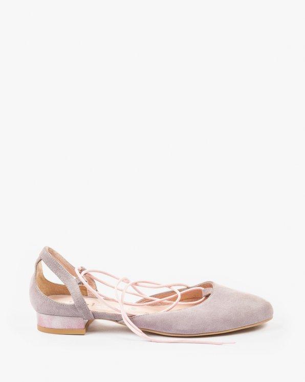 Różowe balerinki damskie skórzane 2129/C15