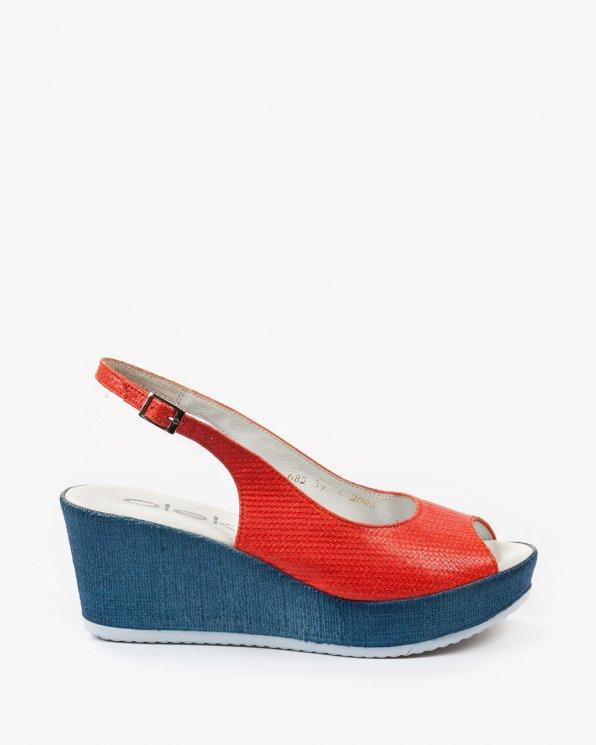 Czerwone sandały damskie skórzane 2095/731