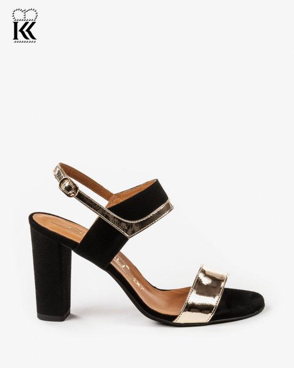 Czarno złote sandały damskie skórzane 2290/A38/147