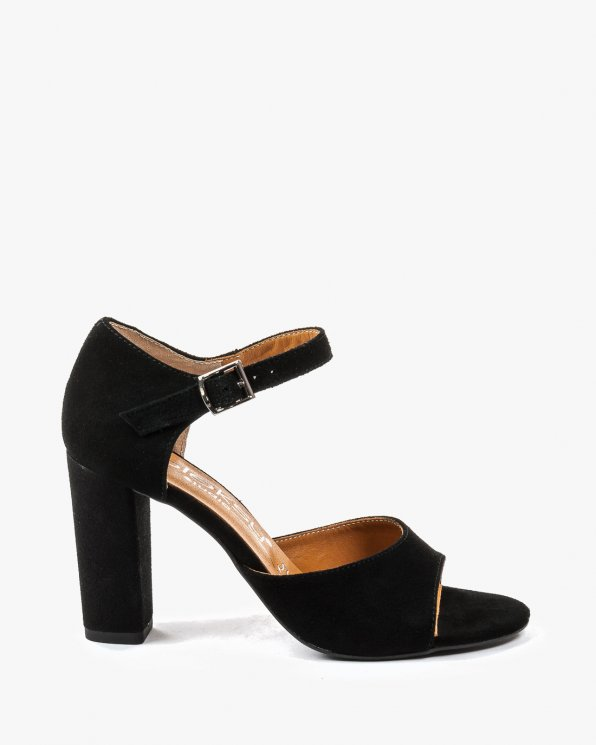 Czarne sandały damskie skórzane 2295/147