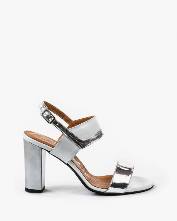 Biało srebrne sandały skórzane damskie  2290/120/534