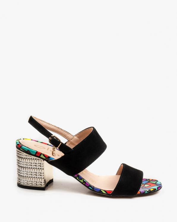 Czarne sandały damskie skórzane 2481/147/E46