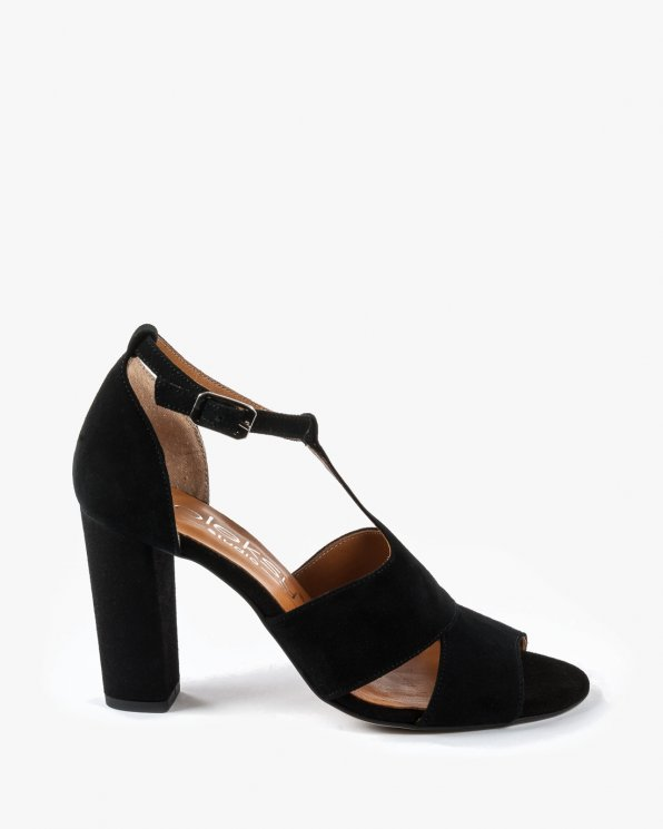 Czarne sandały damskie skórzane 2294/147
