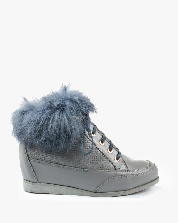 Botki sneakersy szare damskie skórzane 2461/C84