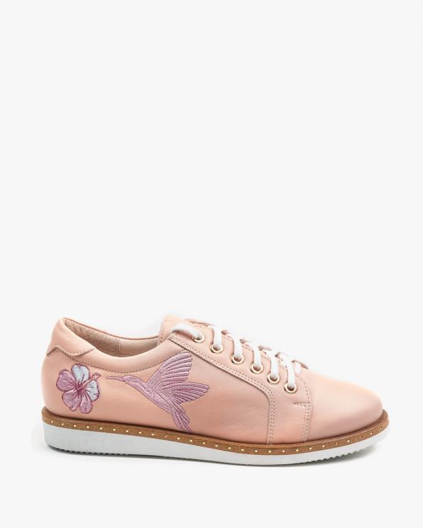 Różowe półbuty damskie skórzane 2742/E30