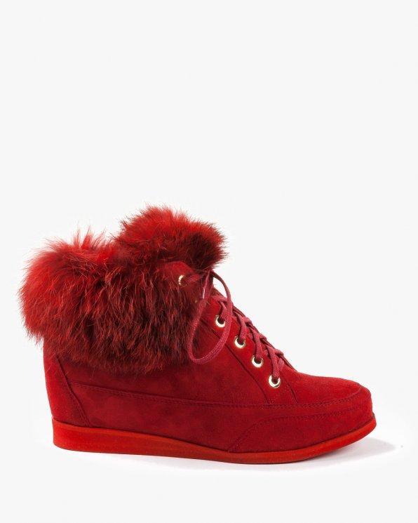 Botki sneakersy czerwone damskie skórzane 2461/955