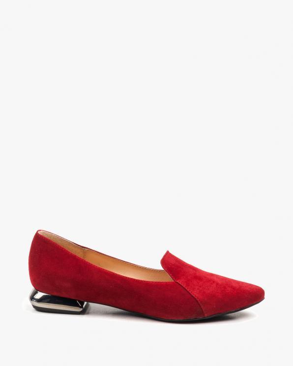 Czerwone balerinki damskie skórzane 2762/955