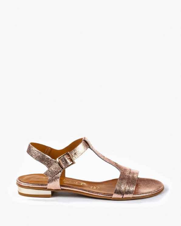 Złote sandały damskie skórzane 2000/C71