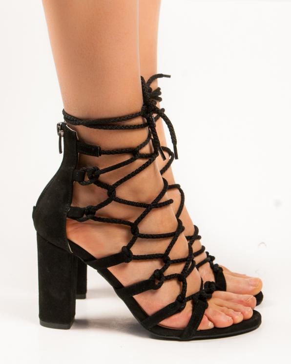 Czarne sandały damskie skórzane 2833/147