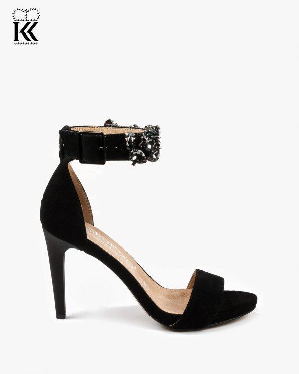 Czarne sandały damskie skórzane 2405/147