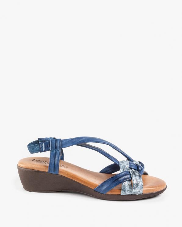 Niebieskie sandały damskie skórzane EXI298/AZUL ACERO