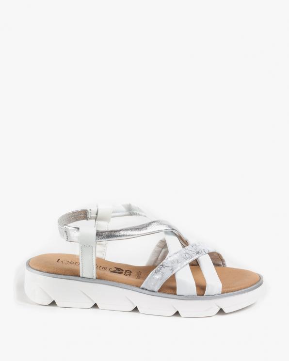 Białe sandały damskie skórzane EXI200/BLANCO PLATA
