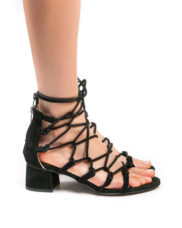 Czarne sandały damskie skórzane 2834/147