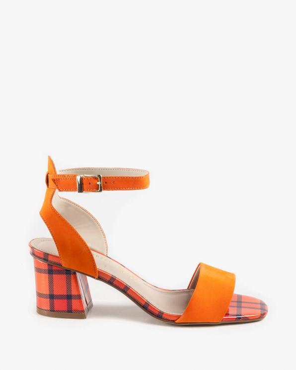 Pomarańczowe sandały damskie skórzane KON7679-402-507/NECTARI