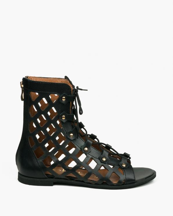 Czarne sandały damskie skórzane 3507/A89
