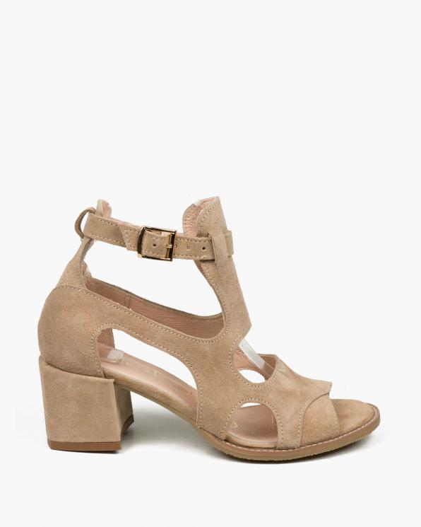 Beżowe sandały damskie skórzane 3325/F37