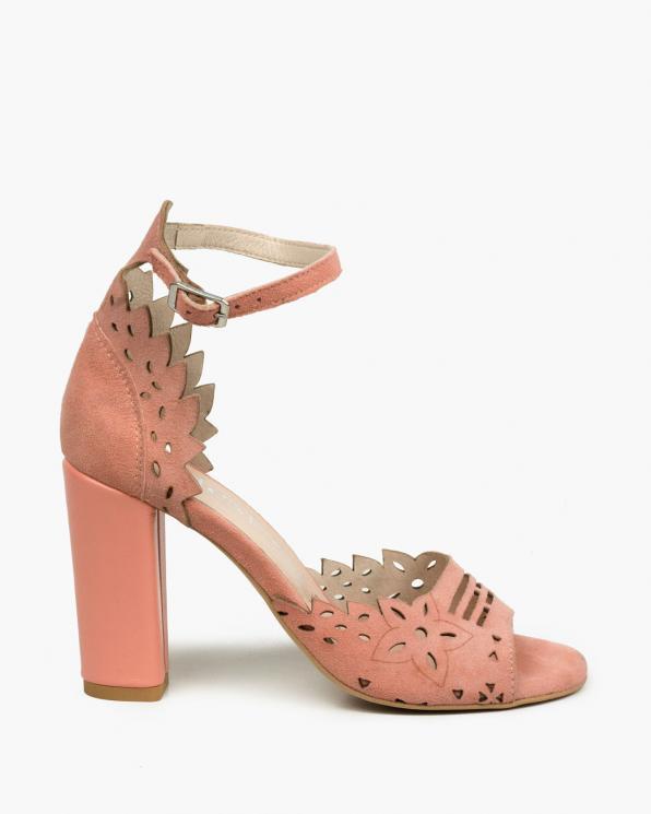 Łososiowe sandały damskie skórzane  3023/F08/E30