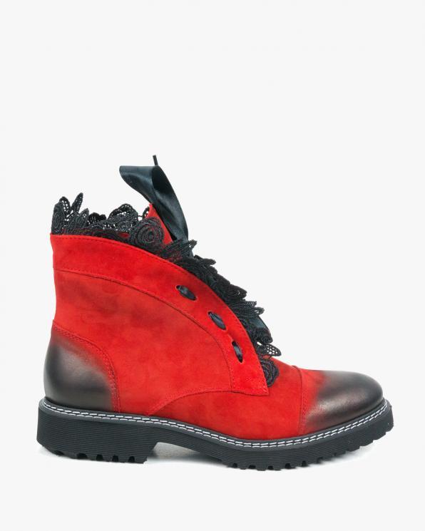 Czerwone botki damskie skórzane 2513/C24