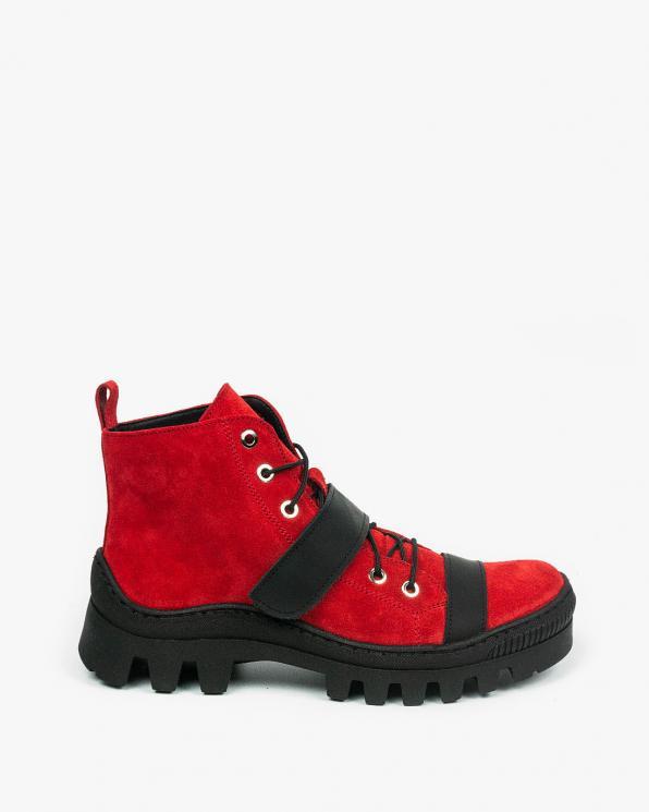 Czerwone trapery damskie skórzane 3637/H05/G93