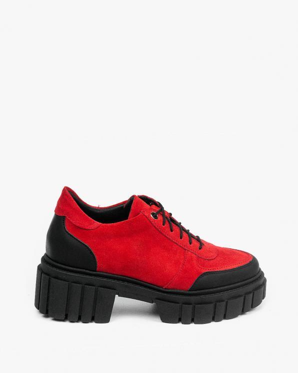 Czerwone traperki damskie skórzane 3394/H05/G93/001