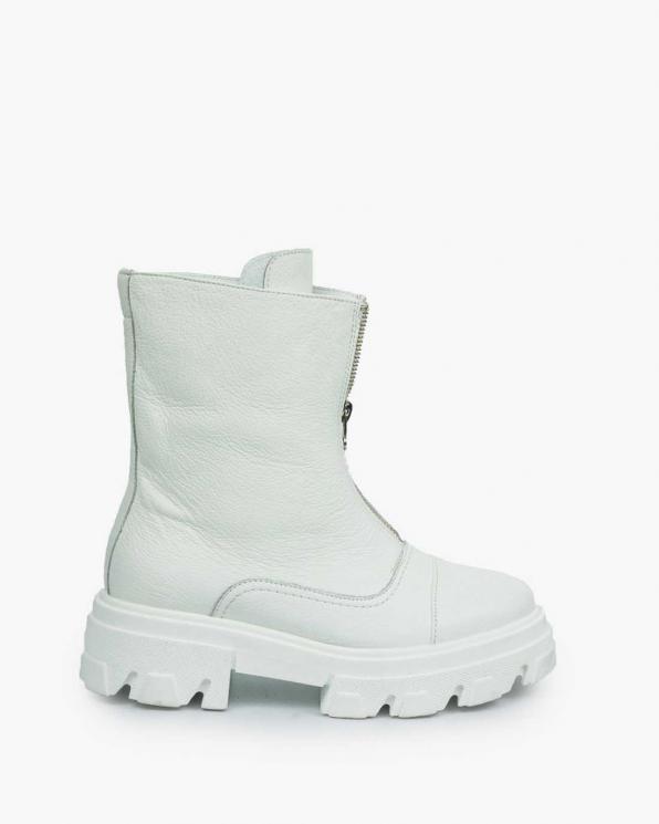 Białe trapery damskie skórzane 3654/G02