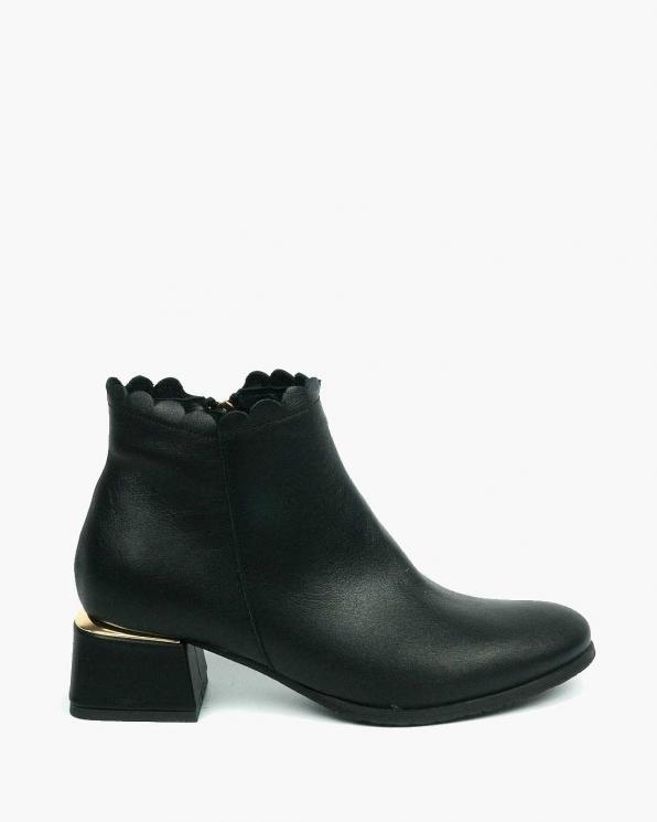 Czarne botki damskie skórzane 3687/A89