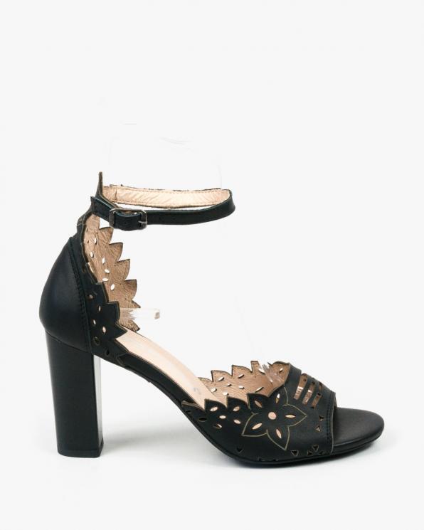 Czarne sandały damskie skórzane 3023/A89