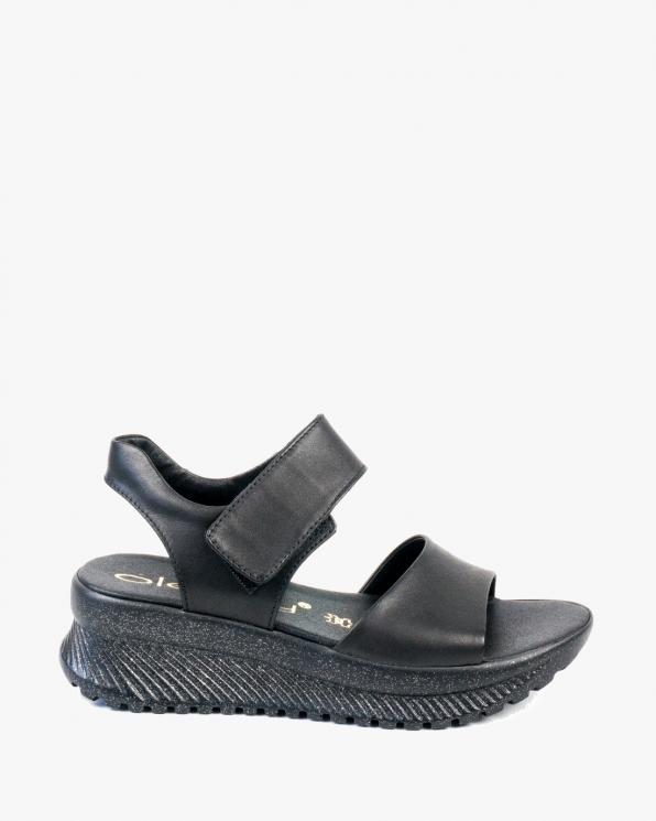 Czarne sandały damskie skórzane 3085/A89