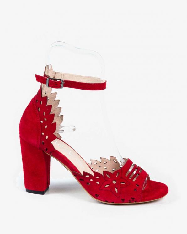 Czerwone sandały damskie skórzane 3023/955
