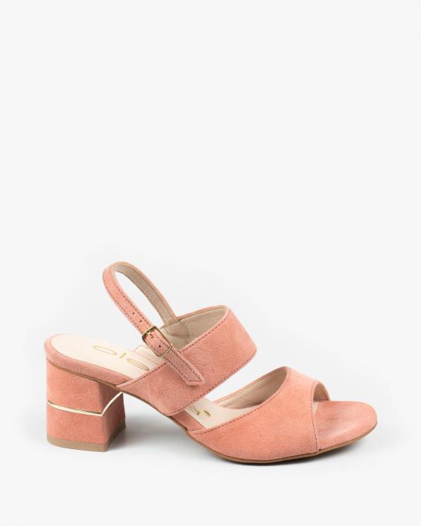 Łososiowe sandały damskie skórzane 3190/F08