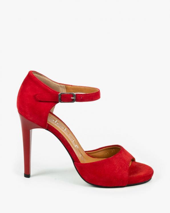 Czerwone sandały damskie skórzane 2296/955