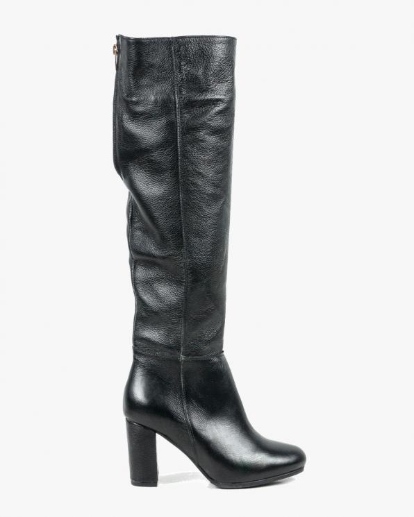 Czarne kozaki damskie skórzane 1933/C47