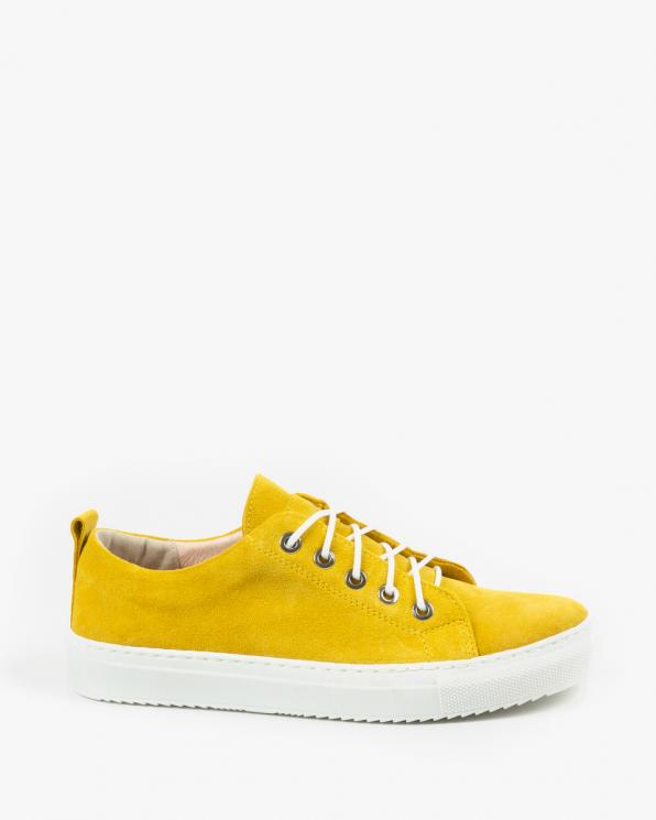 Żółte trampki damskie skórzane 3164/G68
