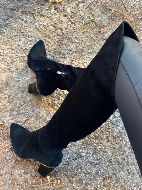 Czarne kozaki damskie skórzane 3697/147